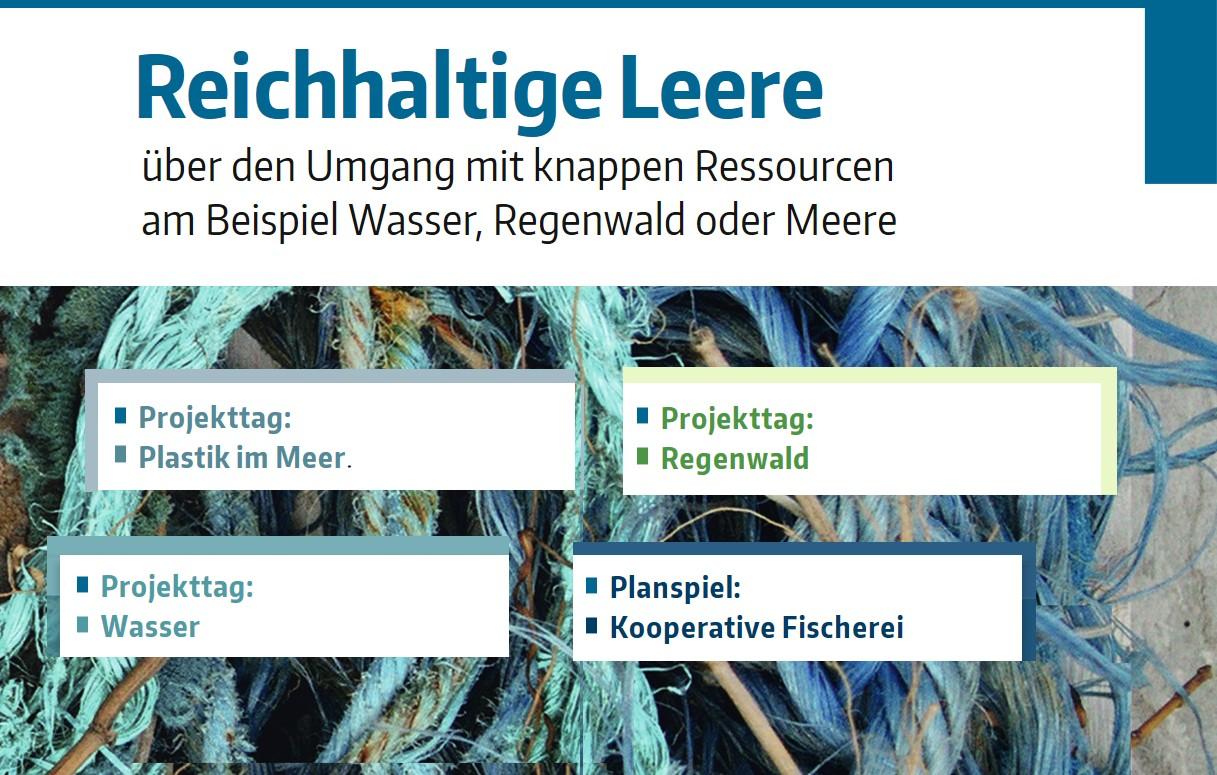 "Grafik: Projekttage zum Thema ""Knappe Ressourcen"""