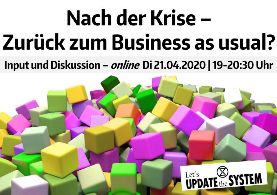 Abbildung: Vortrag Nach der Krise - Zurück zum Business as usual